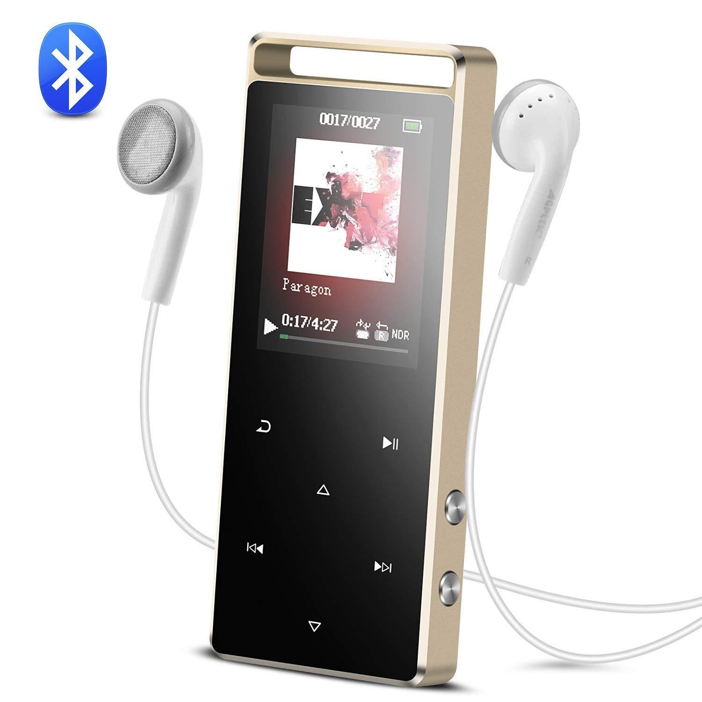 AGPTEK MP3 Bluetooth 4.0 Lecteur Radio en Mé tal 8Go Baladeur Sport Sté ré o Excellent Ecran en Couleur 1, 8 Pouces- A29T Noir