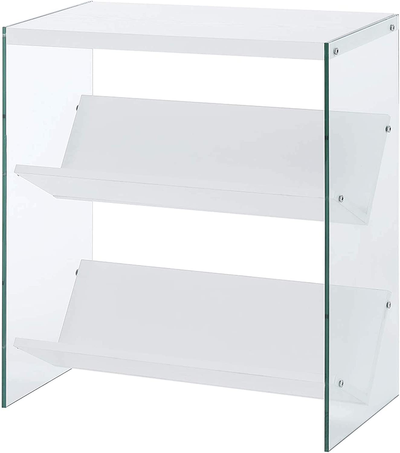 Convenience Concepts Soho Bookcase, White Glass
