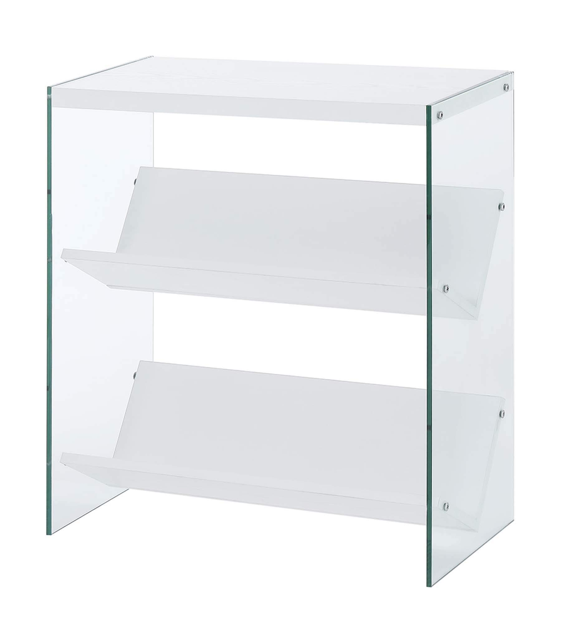 Convenience Concepts Soho Bookcase, White/Glass by Convenience Concepts