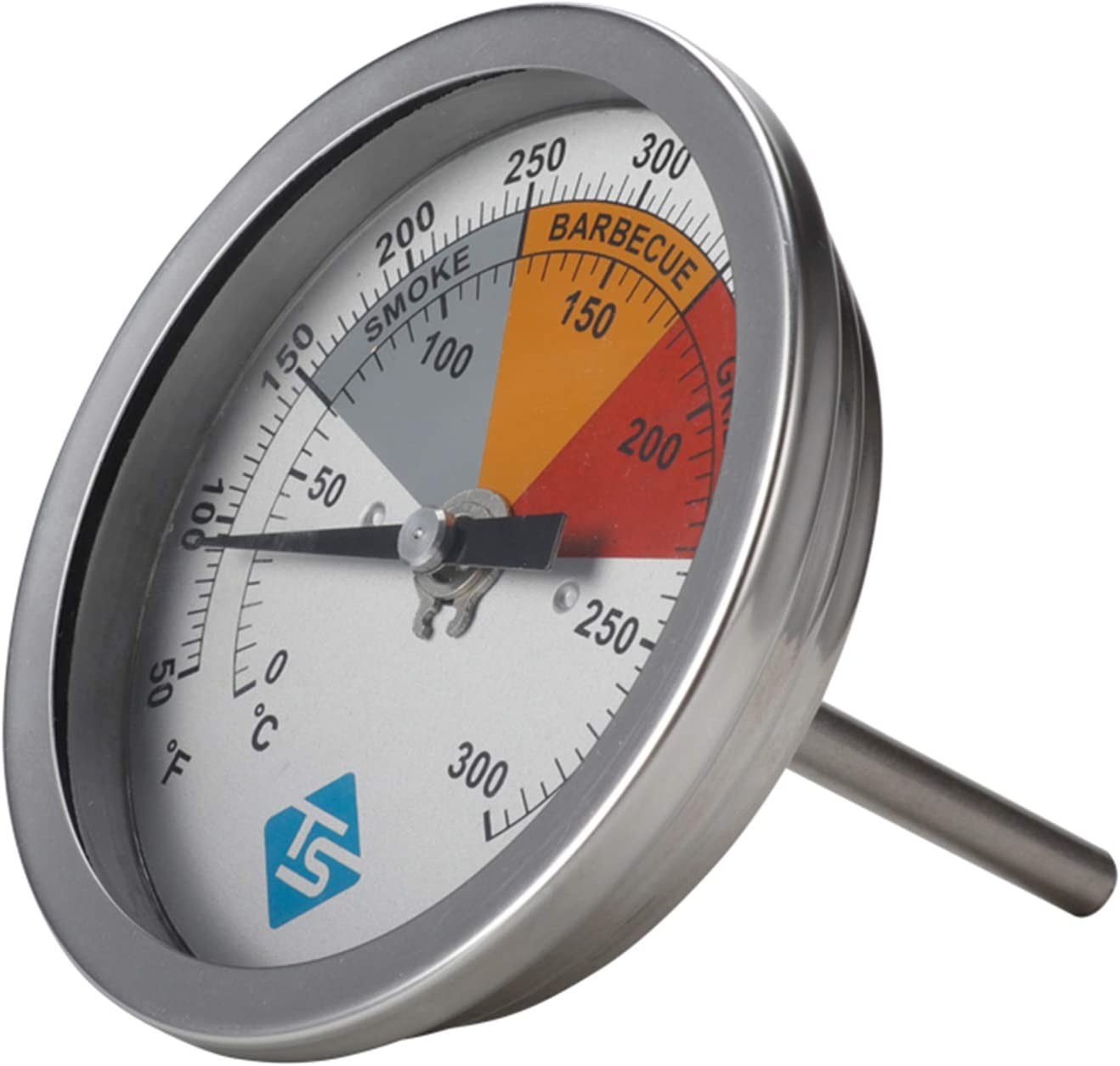 zrshygs BBQ Smoker Thermometer Analoges Temperaturmessger/ät f/ür Holzkohlegrillgrube 50-550 F.