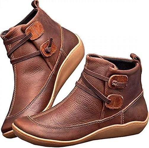 Komfort Stiefel Schuhe Flacher Absatz Kunstleder Vintage Bequem Frauen