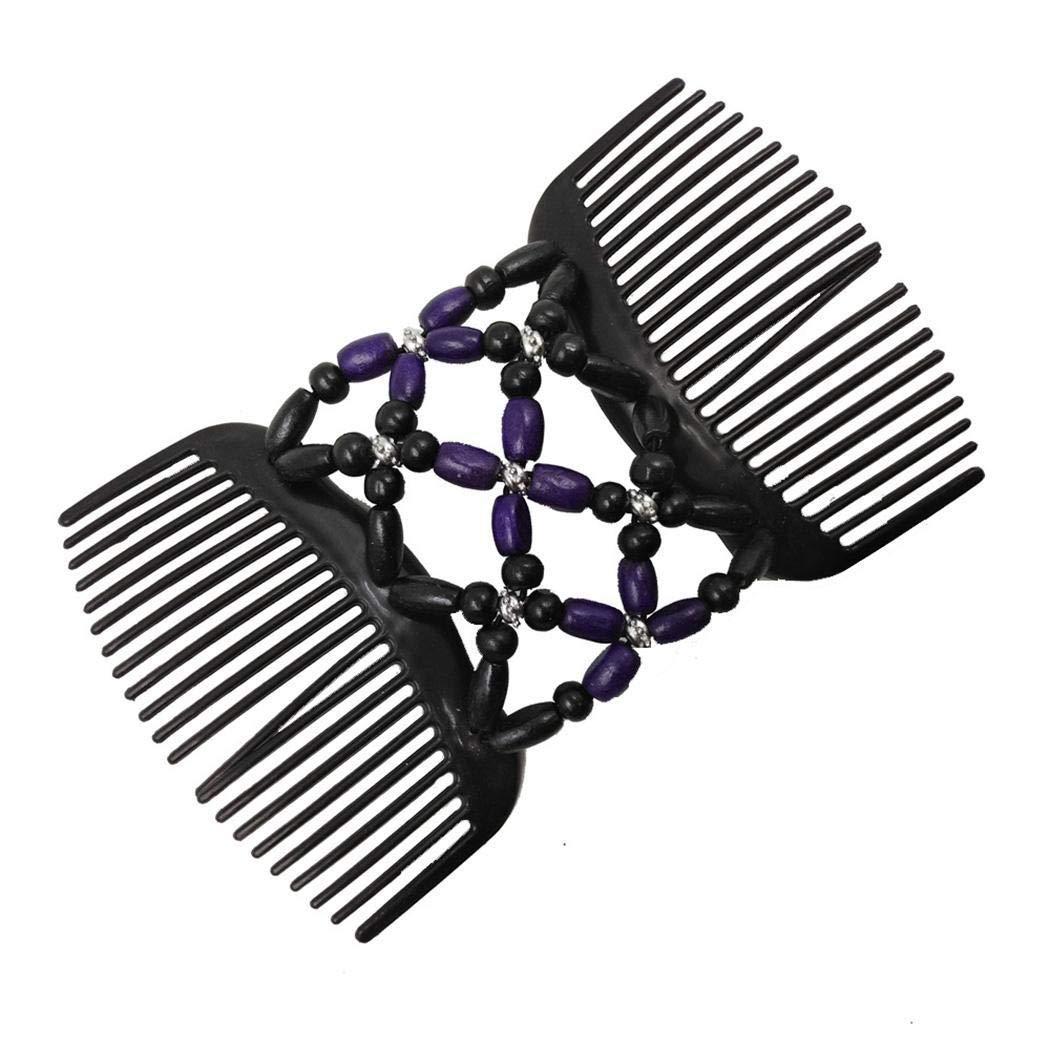 piokikio Women Fashion Beads Hair Comb Clip Elasticity Hairpin Thick Hair Clip Combs Hair Accessories Blue