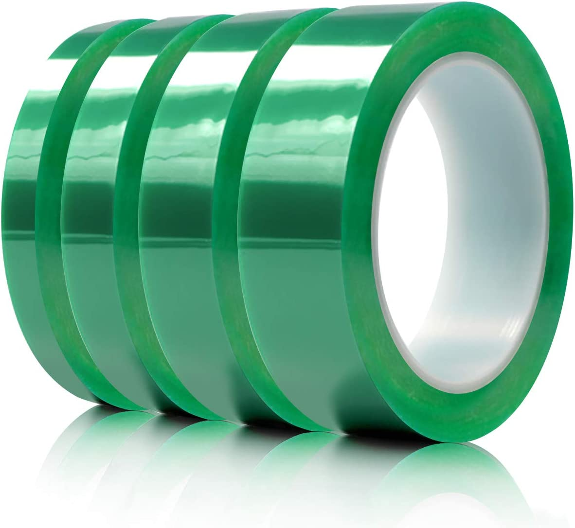 "Hxtape Multi Size Choices Polyester High Temperature Green Powder Coating Masking PET Tape, Ideal to Painting, Anodizing Applications,1/4 inch, 1/2 inch, 3/4"",1 inch, (36yds/roll) 4rolls"