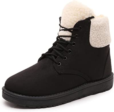 Egmy Womens Winter Boots Ankle Boots Fur Lined Winter Autumn Warm Snow Boots Shoes