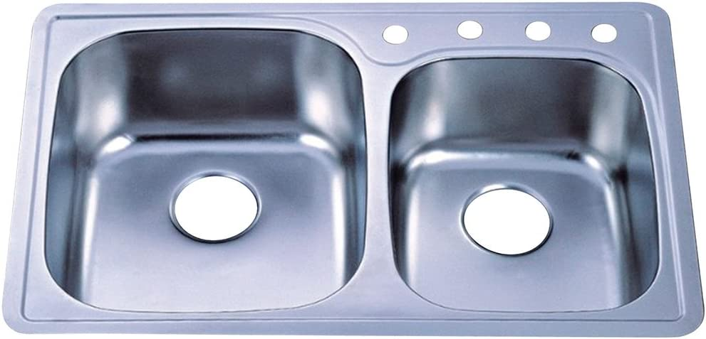 Kingston Brass Gourmetier GKTDD3322CH Studio Self-Rimming Double Bowl Kitchen Sink, Brushed Stainless Steel