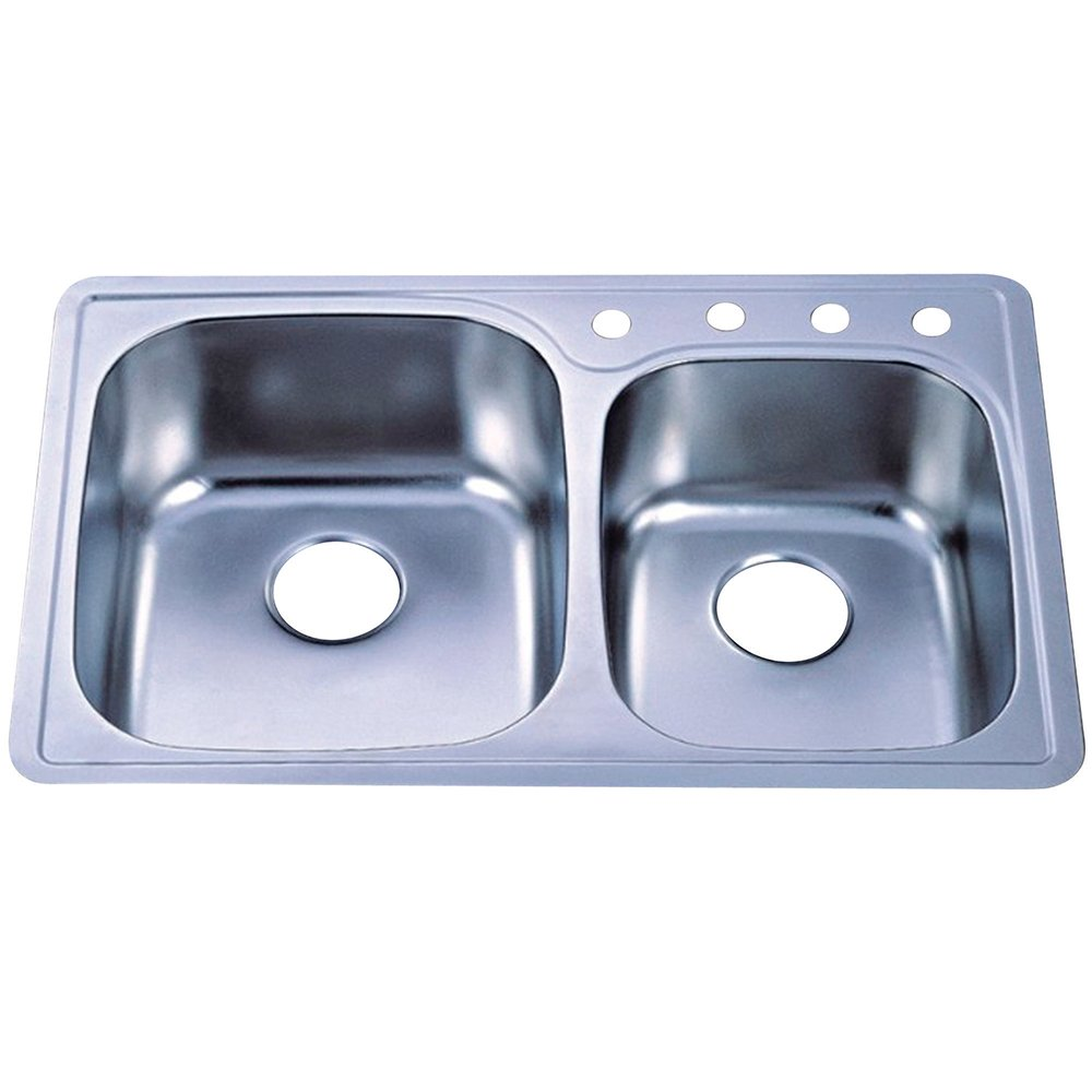 Kingston Brass Gourmetier Gktdd3322ch Studio Self Rimming Double Bowl Kitchen Sink Brushed Stainless Steel Amazon Com