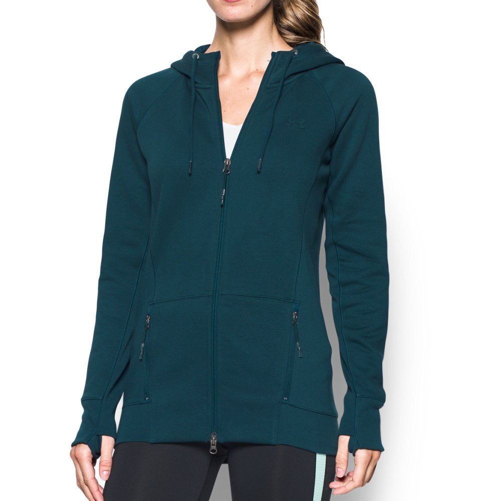 Under Armour Women's Varsity Fleece Full Zip, Nova Teal/Nova Teal, Small