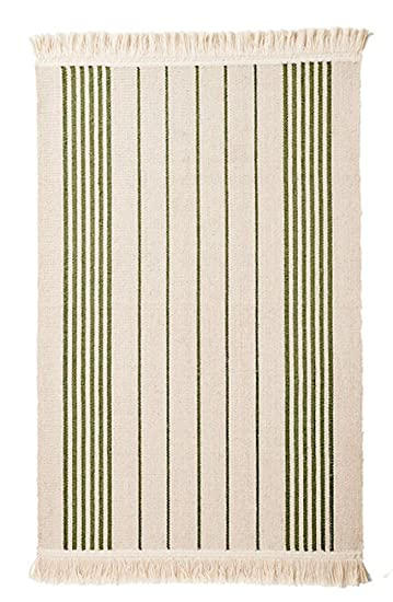 Ikea Flatwoven Area Kitchen Rug Stripes Cotton Green Throw Mat