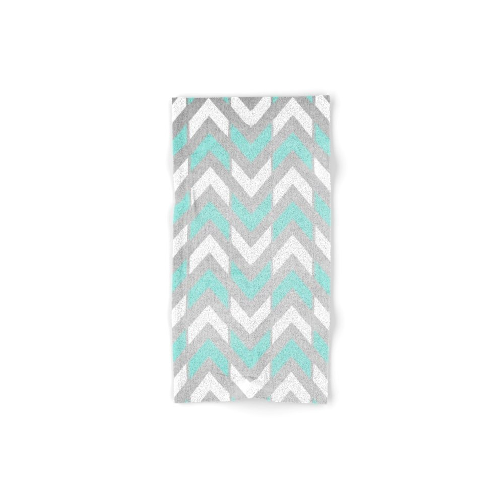 Society6 Teal & White Herringbone Chevron On Silver Wood Hand Towel 30''x15''