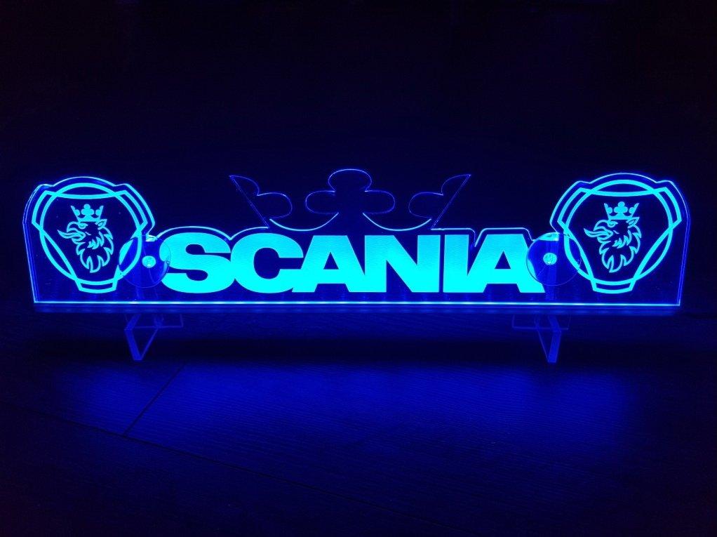Luce LED da 24 volt a piastra per camion SCANIA, colore blu con corona, accessori decorativi per cabina, incisione laser 24 V, 5 W Other