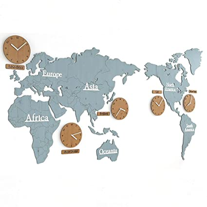 Amazon mcc wall clock diy 3d large puzzle world map wood wall mcc wall clock diy 3d large puzzle world map wood wall stickers bell blue gumiabroncs Image collections
