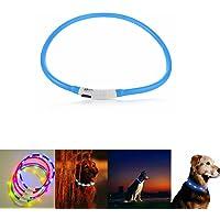 Case Wonder - Collier Chien LED - USB rechargeable - Longueur réglable Animal de compagnie sécurité Collier - Collier Chien Lumineux étanche pour Visibilité et Sécurité dans la Nuit Soir Collier Lumière Brillant Chien Chat Pet (Bleu)