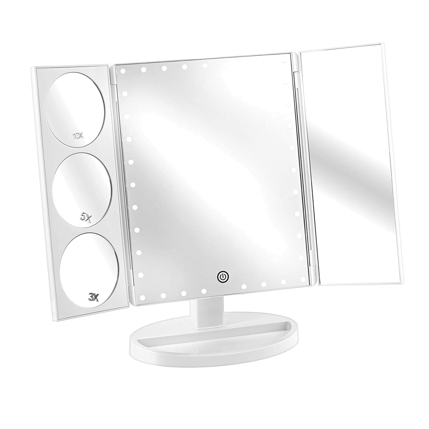 Trifold LED Vanity Makeup Mirror Three Panel Lighted Mirror with Stand for a Table Top, Vanity, Dorm or Desk, 21 LED Lights, 2x 3x Magnification, Touchscreen, White