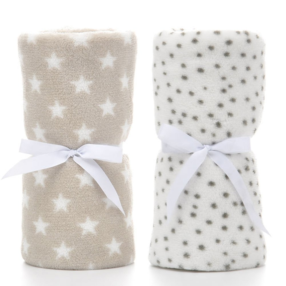 "Prima 2 Pack Ultra Soft Baby Blankets, Comfortable Coral Fleece Plush Blankets for Infant Toddler, Gifts for Newborn, 30"" x 40""(Grey Dot & Brown Star) JY-BBT01-2"