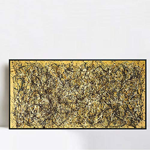 INVIN ART Framed Canvas Giclee Print Art One Number 31, 1950 by Jackson Pollock Wall Art Living Room Home Office Decorations(Black Slim Frame,20