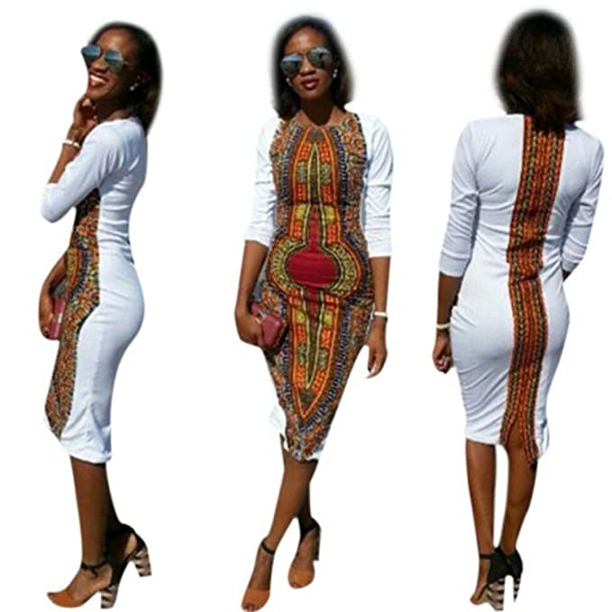 afff30c88255 Wensltd Classy! Women Deep O-Neck Traditional African Print Party ...
