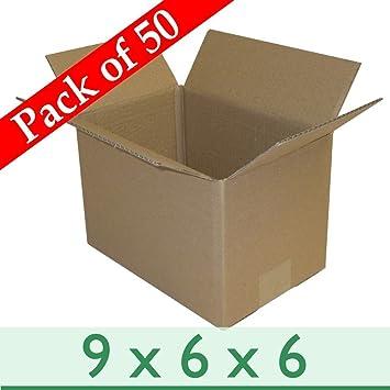 Set de 50 cajas de cartón pequeñas para envíos (229 x 152 x 152 mm): Amazon.es: Oficina y papelería