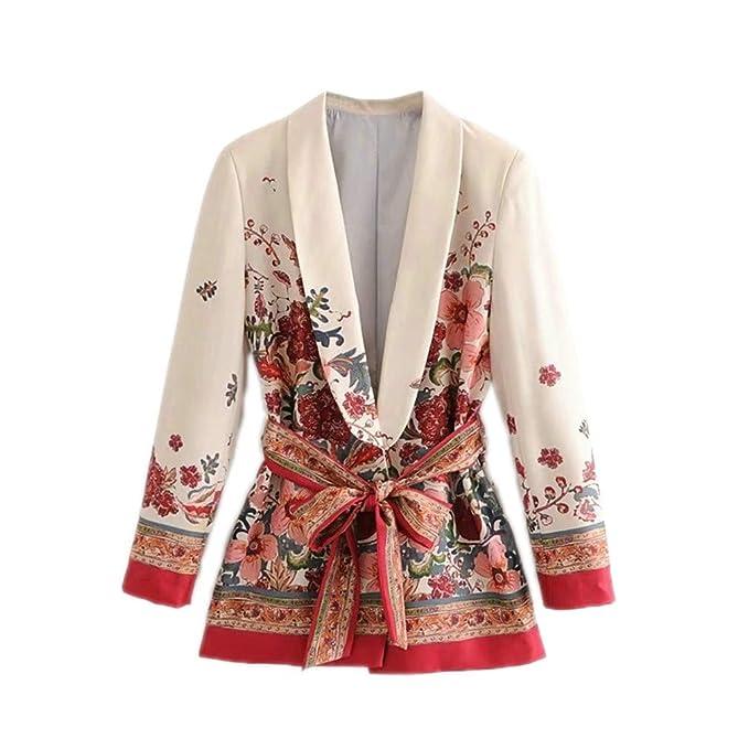 Amazon.com: Traje de mujer Blazer floral chaqueta coreana de ...