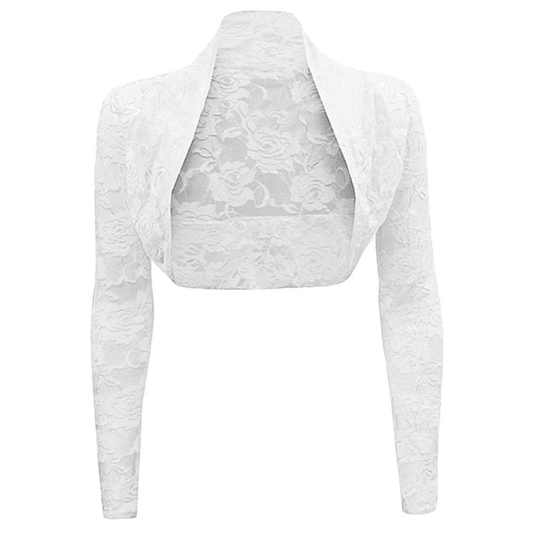 Ez-sofei Women's Sheer Lace Bolero Shrug Jacket Cardigans Plus Size (White, 4XL)