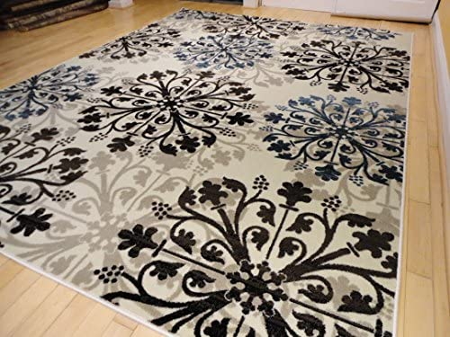 Premium Modern Area Rug Swirls Cream Black Brown Blue Beige Rugs, Large 8×11