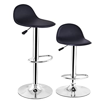 Tremendous Costway Set Of 2 Modern Swivel Chrome Barstools Adjustable Hydraulic Lift Chair Bar Stool Office Home Diner Pu Leather Seat Multi Color Black Gmtry Best Dining Table And Chair Ideas Images Gmtryco