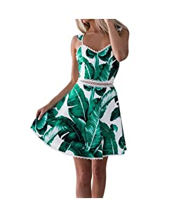 Women Dresses TUDUZ Women Lace Leaves Printing Sleeveless Backless Mini Dress Summer Beach Prom Cocktail Princess Dress(Green ,S)