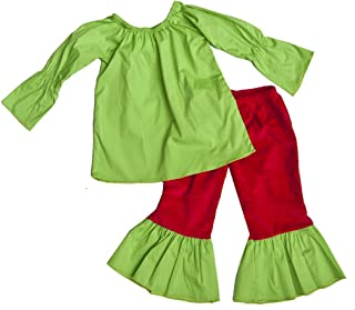 product image for Cheeky Banana Sweet Little Girls Green Top & Minky Ruffle Pants, Green & Red