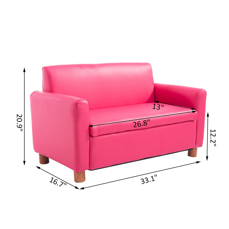 Qaba 33 Kids PU Leather Storage Sofa - Pink by Qaba (Image #7)