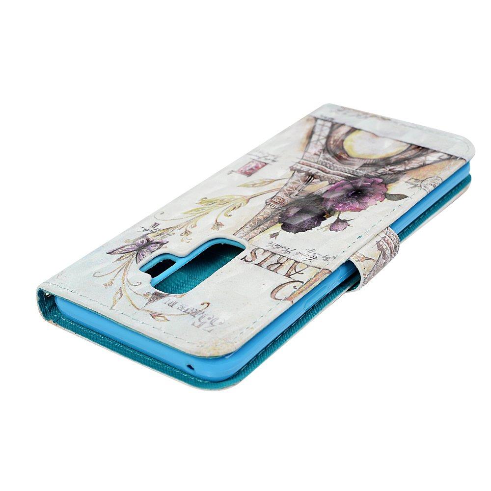 Mlorras H/ülle f/ür Samsung Galaxy S9 Plus 3D-Effekt Gemalt Schnalle vorne PU Leder Handyh/ülle Klappbares Brieftasche Schutzh/ülle Wallet Case Cover mit Integrierten Kartensteckpl/ätzen Blumenturm