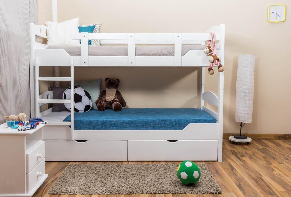 Stockbett mit Bettkasten Easy Sleep K10/n inkl. 2 Schubladen und 2 Abdeckblenden, Kopfteil mit Löchern, Buche Vollholz massiv Weiß - Maße: 90 x 200 cm, teilbar