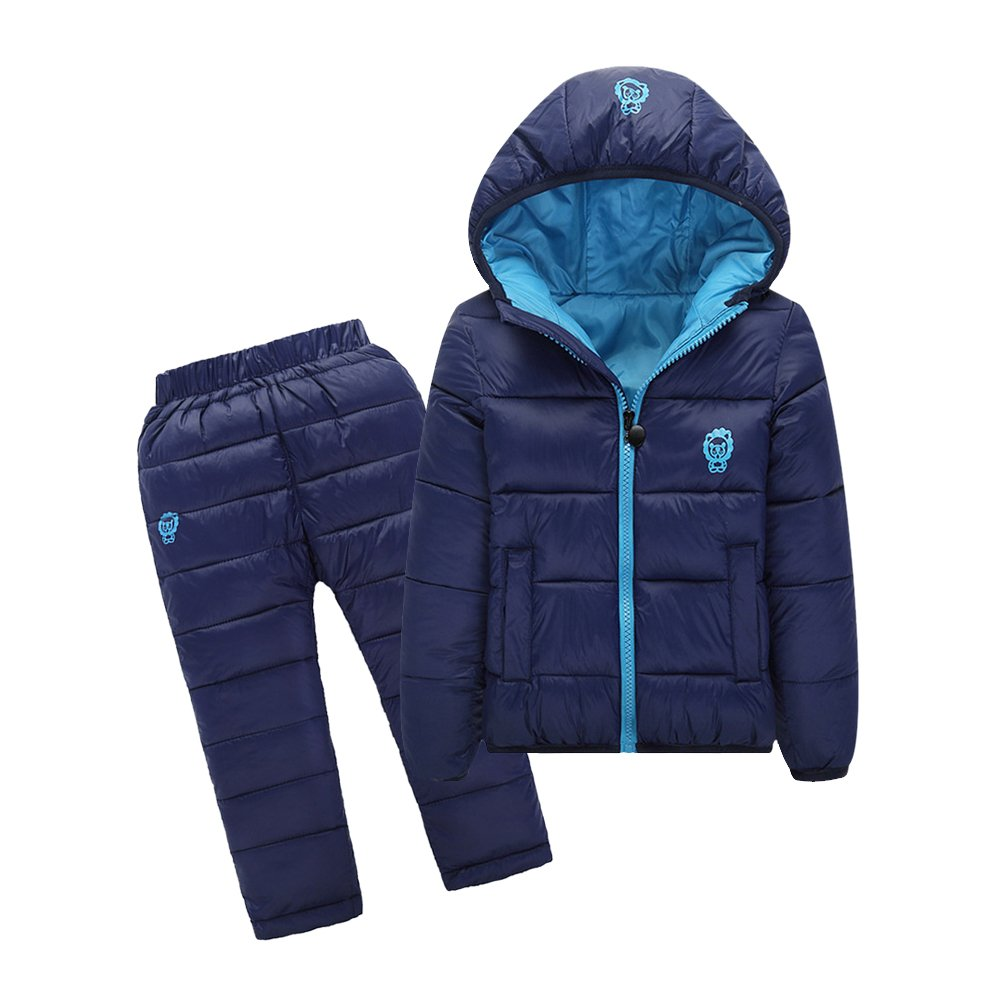 Tortor 1Bacha Kid Girl Boy Winter Outfit Hooded Puffer Coat and Pants Set Navy Blue 3-4