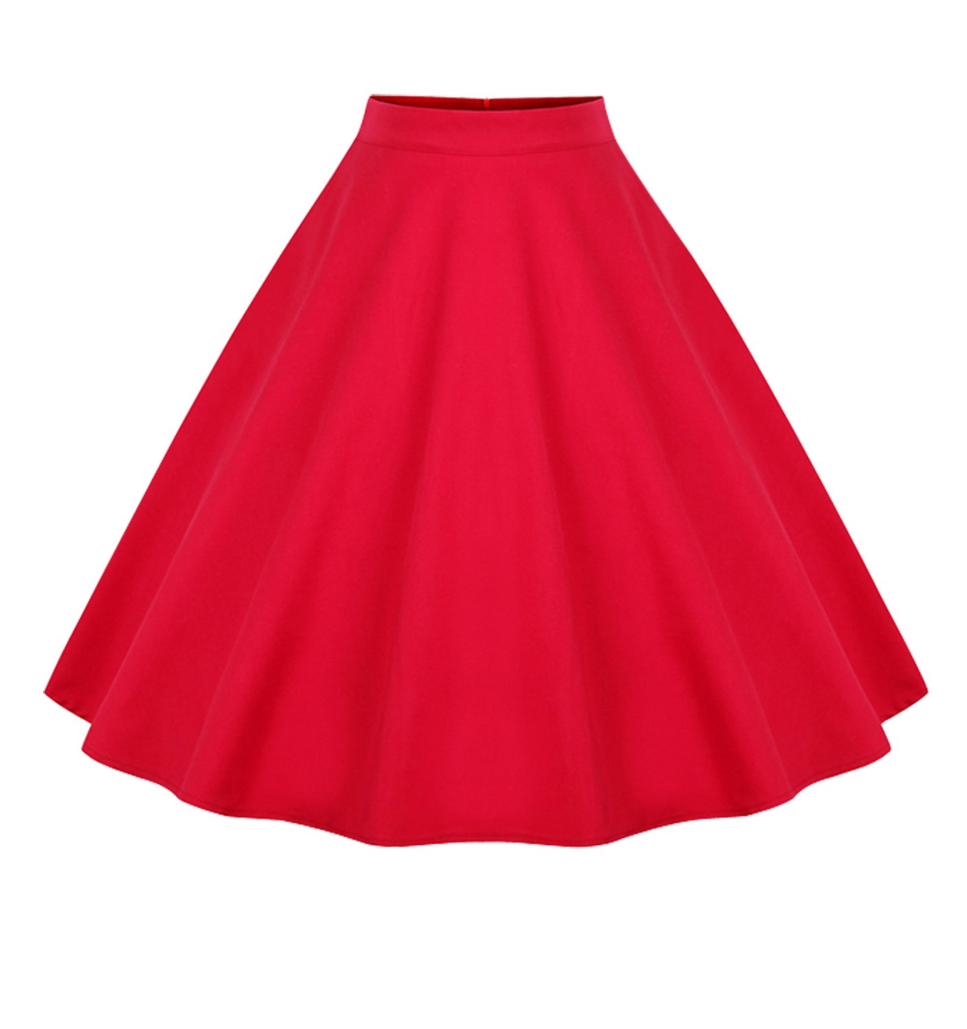 Killreal Women's High Waisted Flared Vintage Skirt for Christmas Party Red X-Large by Killreal (Image #1)