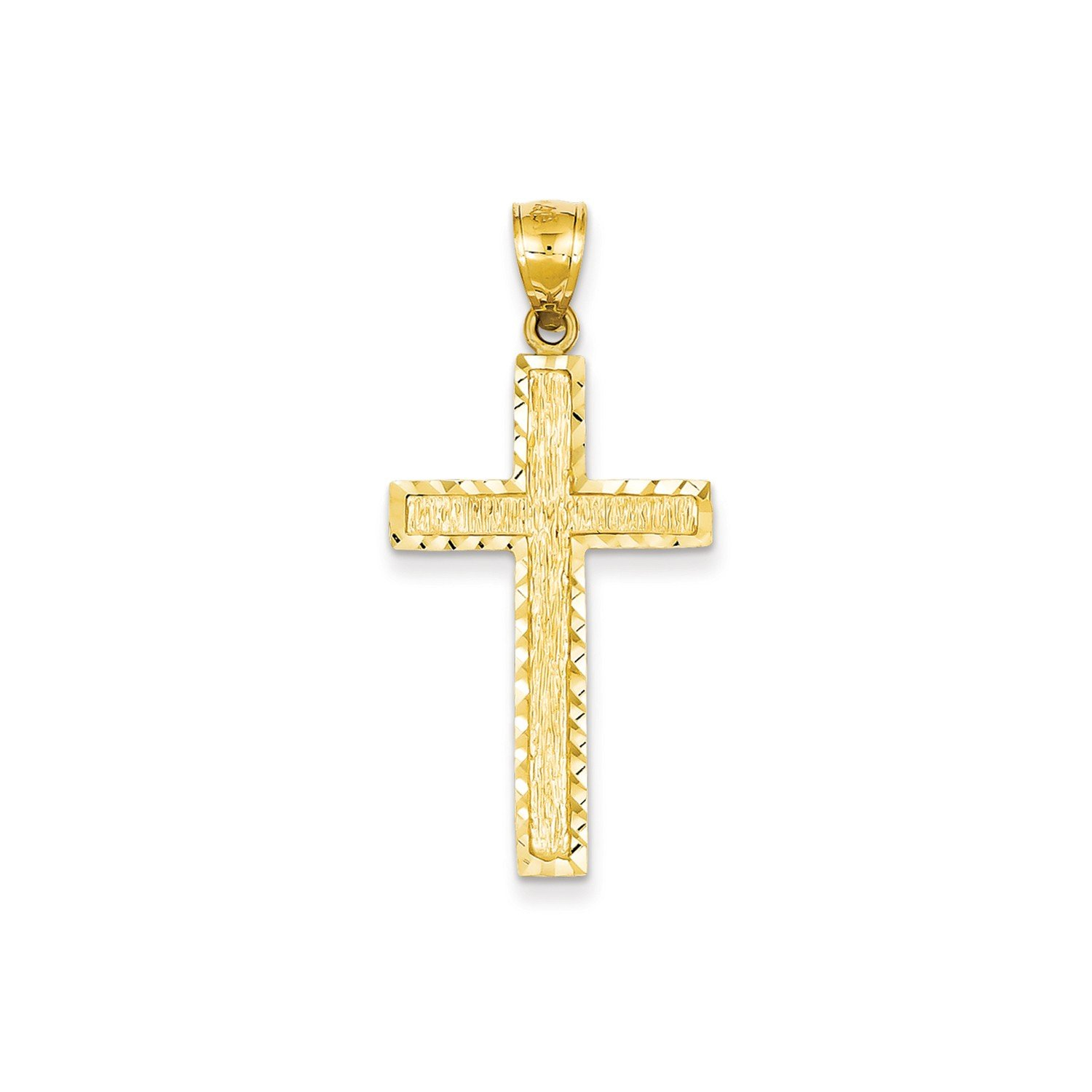 Roy Rose Jewelry 14K Yellow Gold Diamond-cut Cross Pendant 41mm length