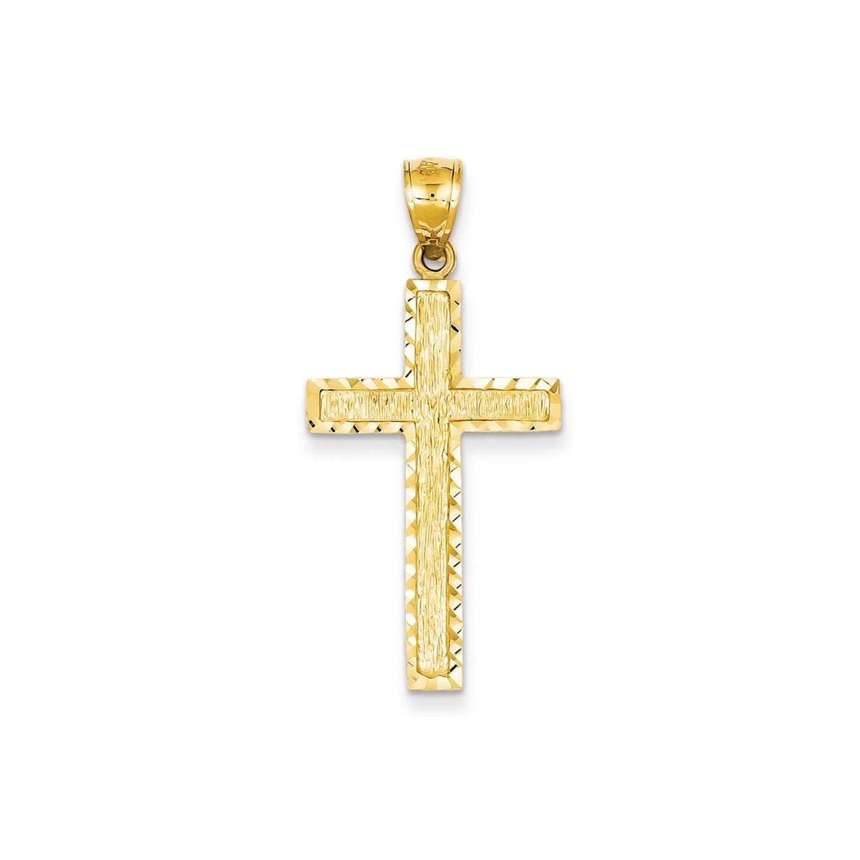 Roy Rose Jewelry 14K Yellow Gold Diamond-cut Cross Pendant 41mm length