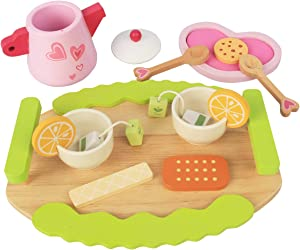 Tea Party Set for Little Girls, Pretend Food Play Wooden Tea Set Great Gift for 3 4 5 Year Old Girls Boys