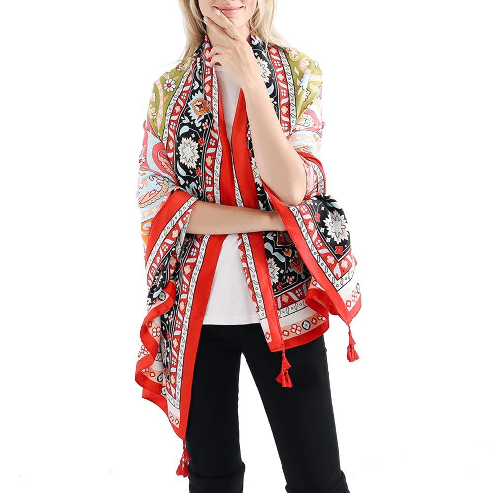 13 VISAER Womens 100% Twilled Cotton Fleeing Long Fashion Designer Scarf Travel Pashmina Tassel Bohemia Shawl Wrap