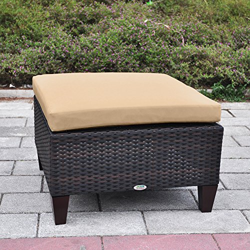 Outdoor Patio Wicker Ottoman Seat with Cushion, All Weather Resistant Foot Rest Stool Coffee Table, Easy to Assemble (Brown) - Dutailier Set Ottoman