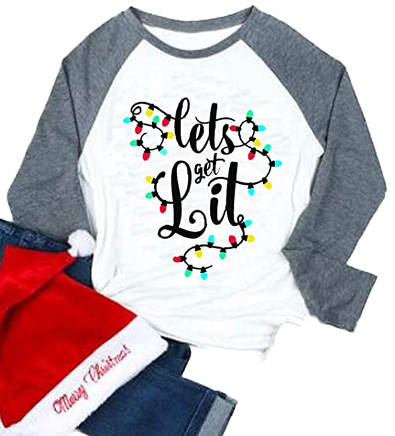 b4cea3e0fe Lets Get Lit Christmas Shirts Women Funny Cute Ligts Tree Long Sleeve Tee  Top White Blouse at Amazon Women's Clothing store: