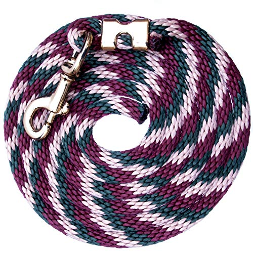 10-ft Lead Rope Spiral Design Poly - Burgundy, Hunter Green, Khaki