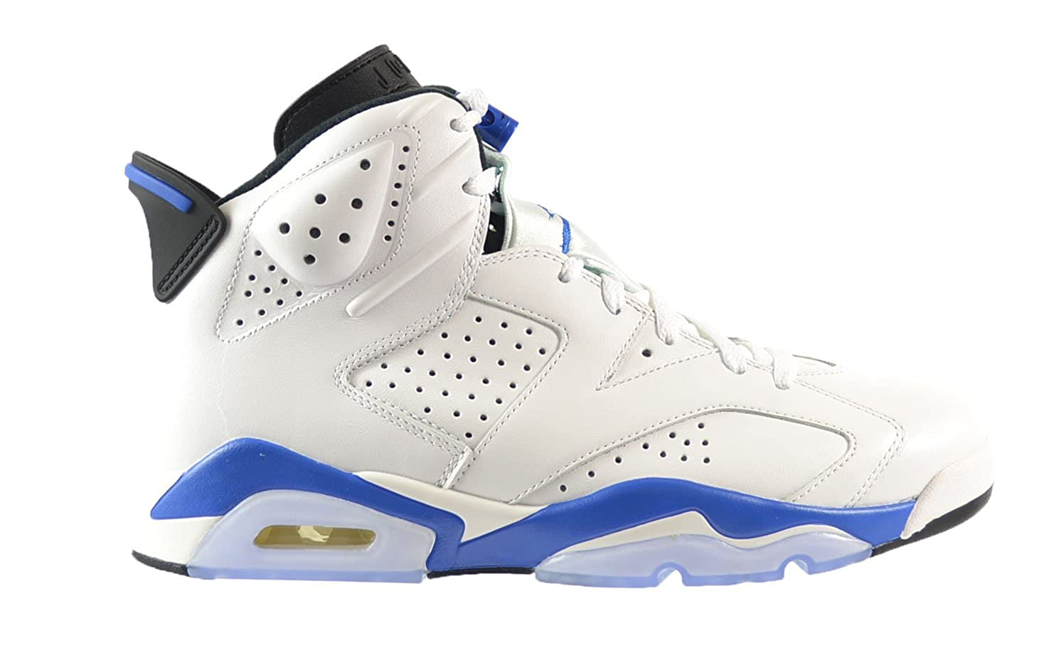 reputable site 1e14d ff5a1 Amazon.com   Jordan Air 6 Retro Men s Shoes White Sport Blue-Black  384664-107 (10 D(M) US)   Basketball