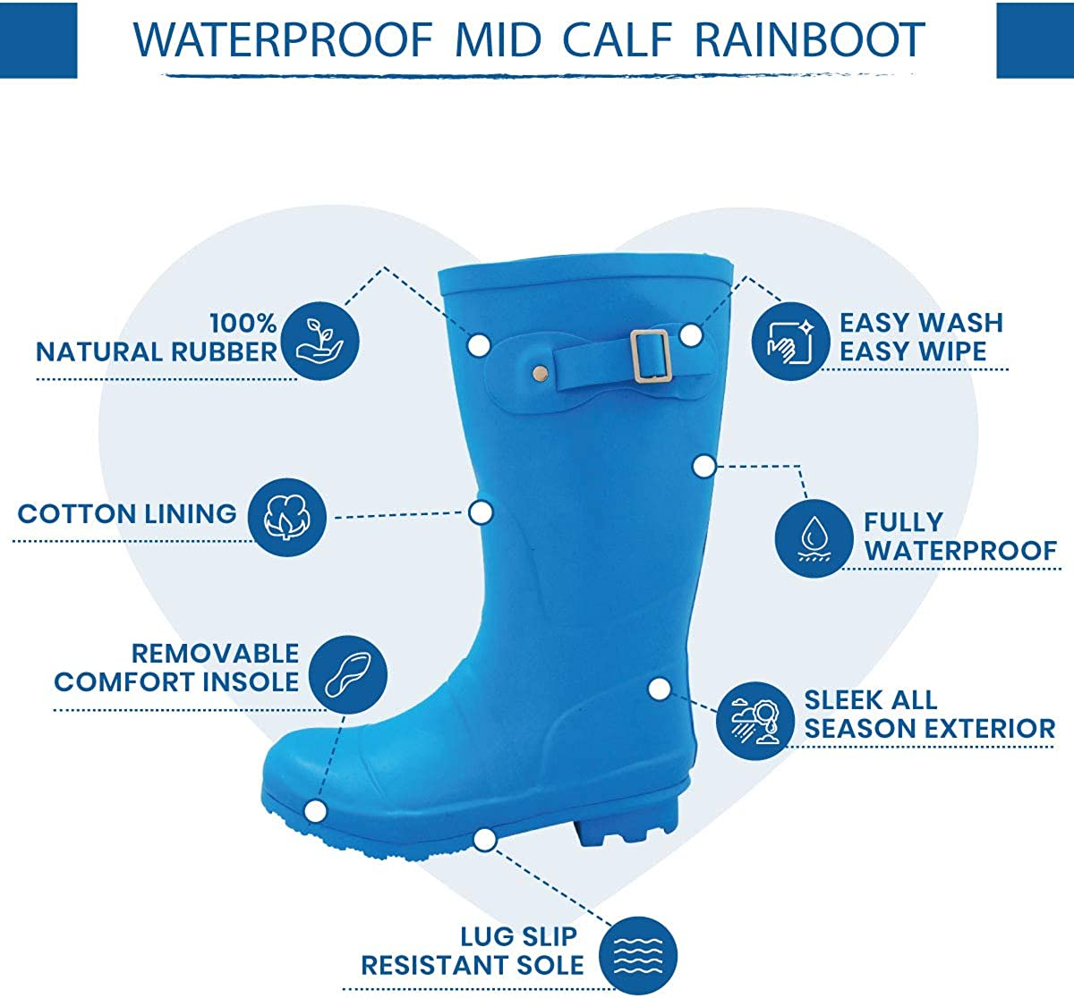 NORTY Womens Hurricane Wellie Glossy /& Matte Waterproof Mid-Calf Rainboots Solids and Prints