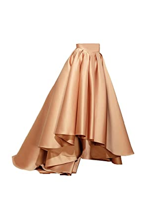 f7da94db23 Diydress Women's High Waist Front Short Back Long A-line Satin Skirts with  Pockets XXX