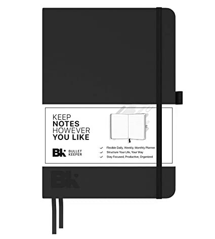 Undated Planner Daily/Weekly/Monthly Planner Organizer - A5 Non-Dated 12 Month Academic Agenda by Bullet Keeper, Black Leather Hardcover (AA5)