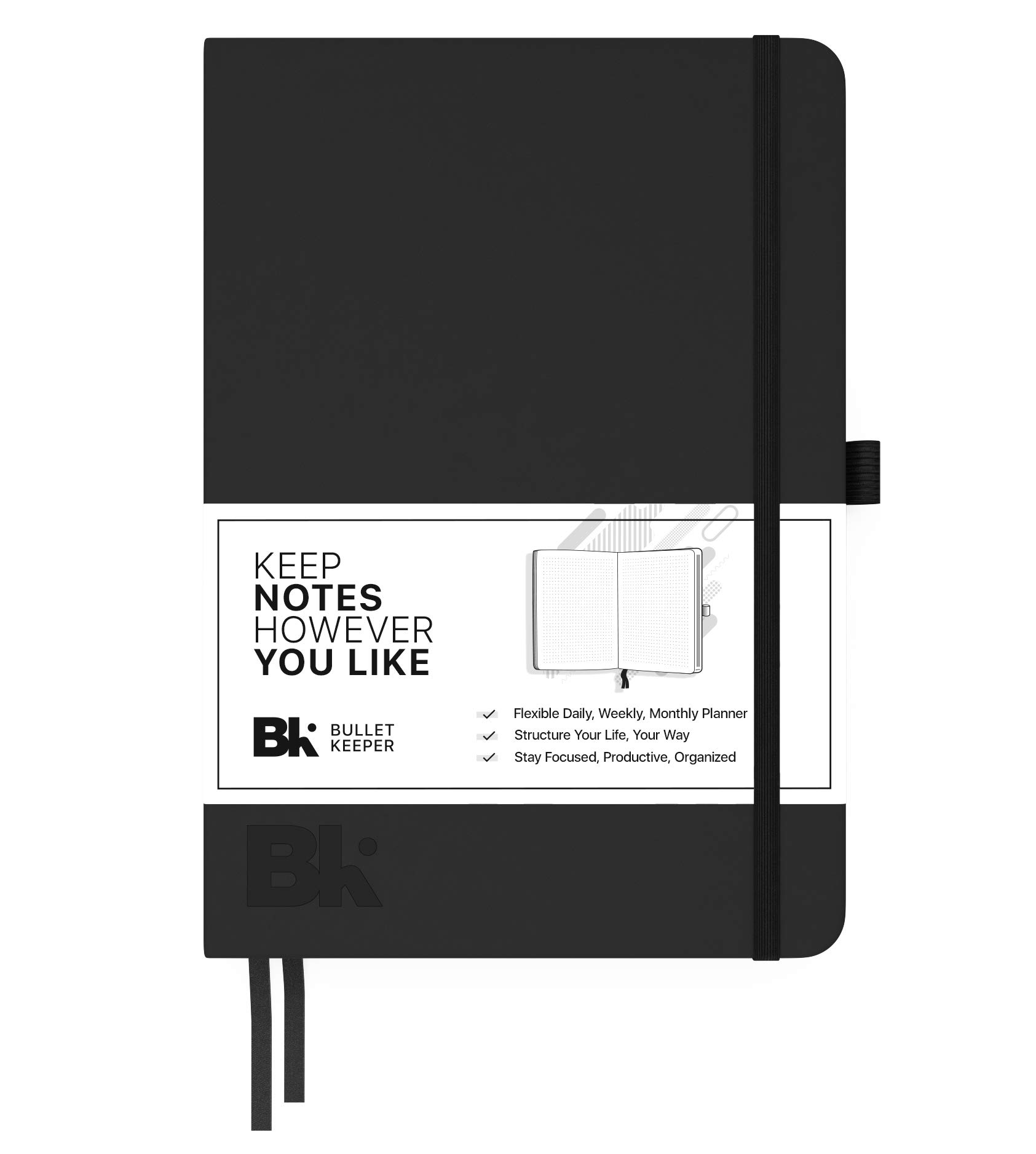 Best Undated Notebook Planner – Daily, Weekly, Monthly Planner. Black Hardcover Leather Bullet Journal. Non-Dated 12 Month Flexible Agenda. 2018-2019 Bullet Keeper