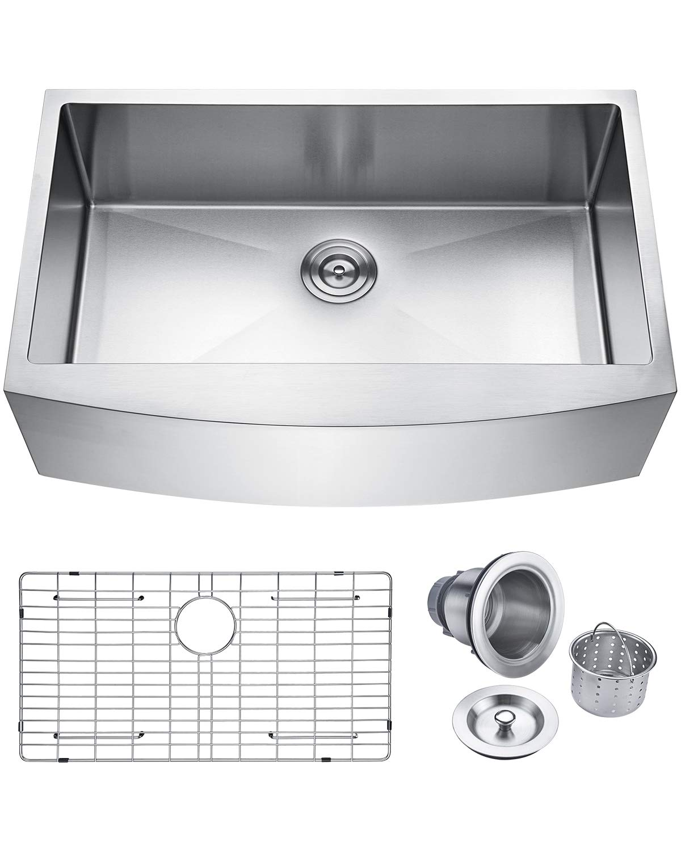 Keonjinn Kitchen Sink, 33-inch Apron-front Farmhouse 16 Gauge Stainless Steel Single Bowl by Keonjinn