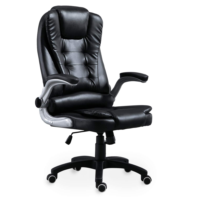 XMAF Bürostuhl mit hoher hoher hoher Rückenlehne, Schreibtischstuhl mit verdicktem Kopfkissen und Sitzpolster, Weich und bequem, ergonomischer Chefsessel mit klappbaren Armlehnen XMF006001-1 727a17