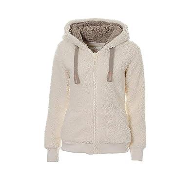 Abrigo con Capucha de Forro Polar Suave para otoño e Invierno, para Mujer, Ajuste Regular: Ropa y accesorios