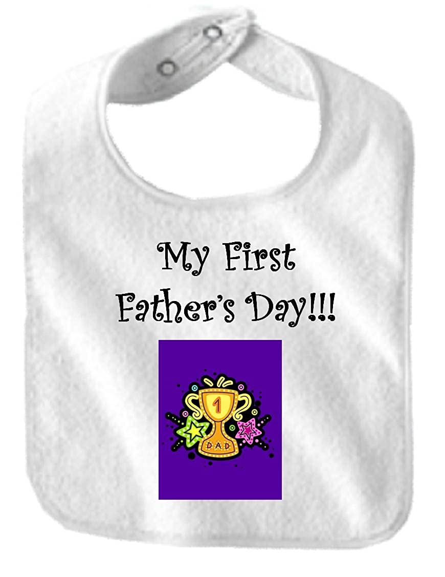 MY FIRST FATHER'S DAY - BigBoyMusic Baby Designs - Bibs - White Bib