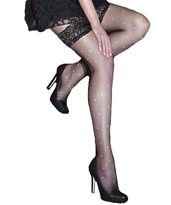 154216c4c139a Silky Diamonte Fishnet Lace Top Hold Ups - Black - Party Legwear, Color- Black, Size-Medium: Amazon.co.uk: Clothing