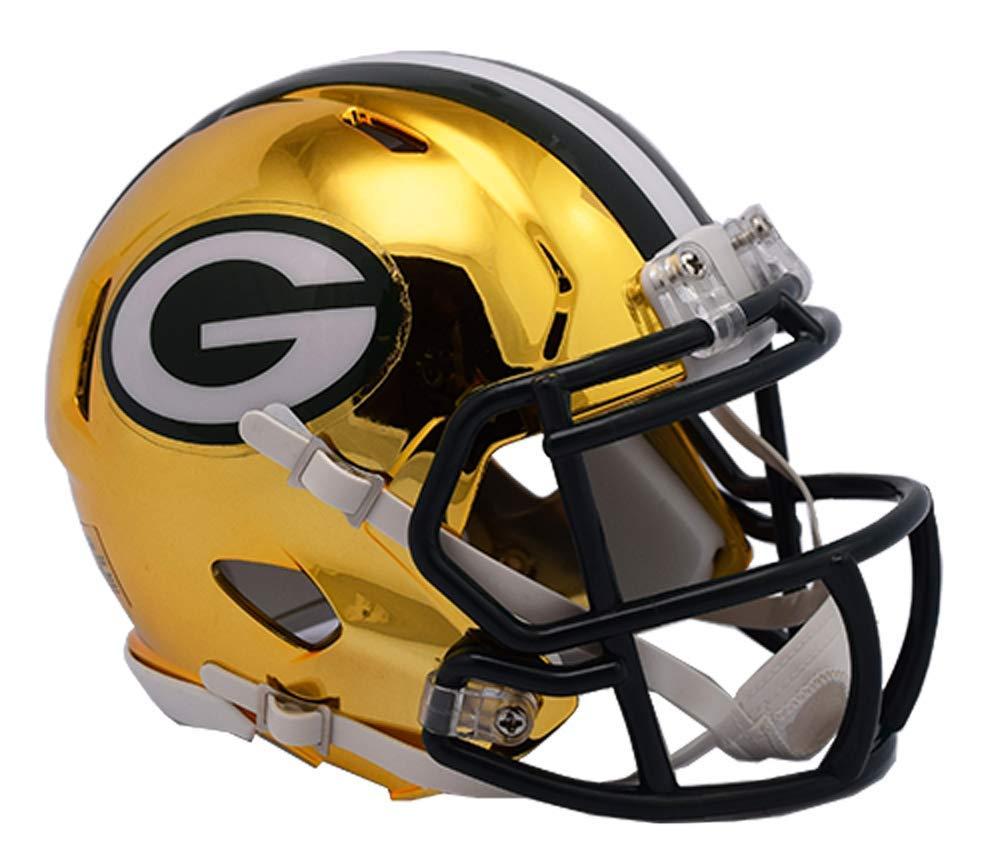 Riddell Chrome Green Bay Packers Speed Mini Football Helmet 2018 Chrome Alternate